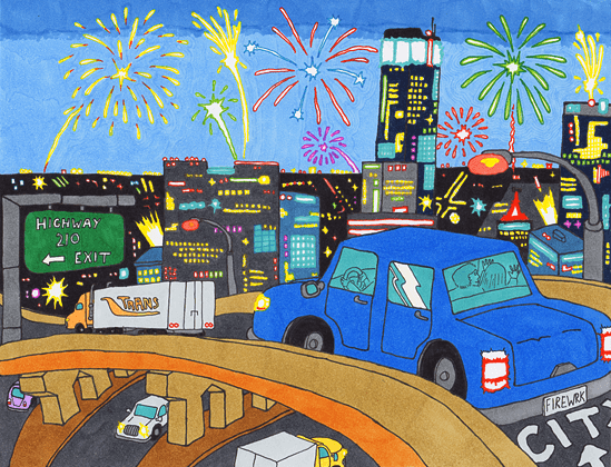 Firework City car crossing the highway