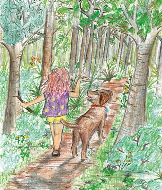 Girl's Best Friend walking with the dog