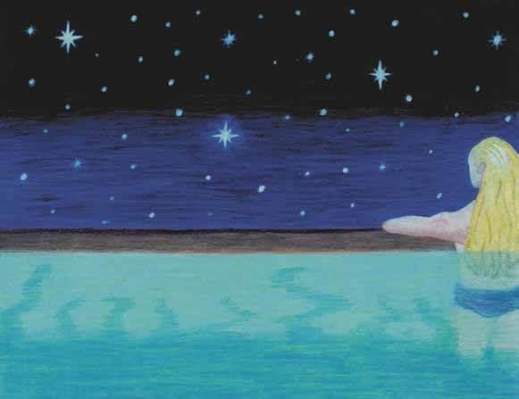 Illuminated girl looking at the stars
