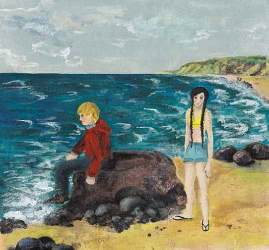 Miracle boy and girl by the sea
