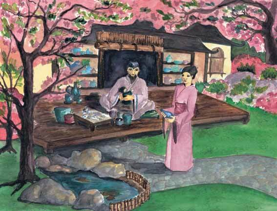The Ship in a Bottle family house with cherry blossoms