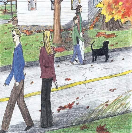 Shadow dog being walked