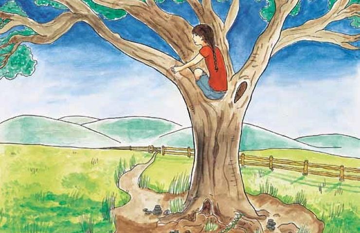 Plant a Thimble girl climbing a tree