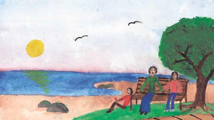 Splintery Embrace: A Memoir sitting on a bench