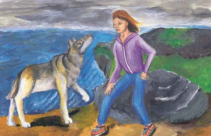 Through Each Other's Eyes girl with a wolf
