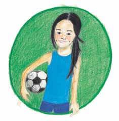 Soccer girl holding soccer ball