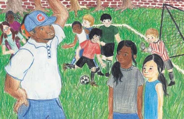 Soccer playing soccer