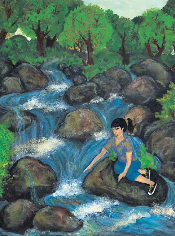 The Shimmering Waterfall River girl sitting by the river