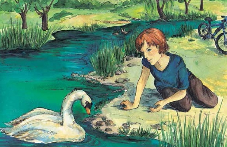 The Power of the Swan boy looking at the swan