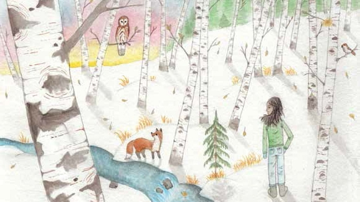 Birch Trees of the Snow girl in the snow