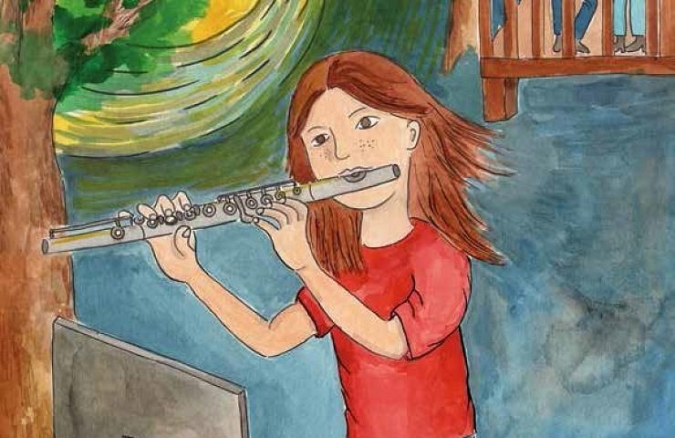 Moonlight Waltz girl playing a flute