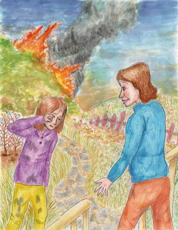 Wolf in the Woods girl crying because of fire