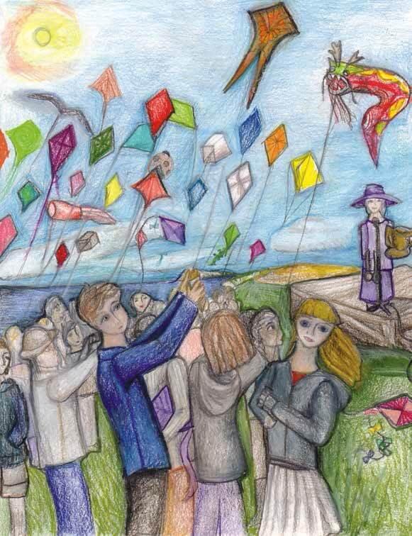The Dragon Kite children flying kites