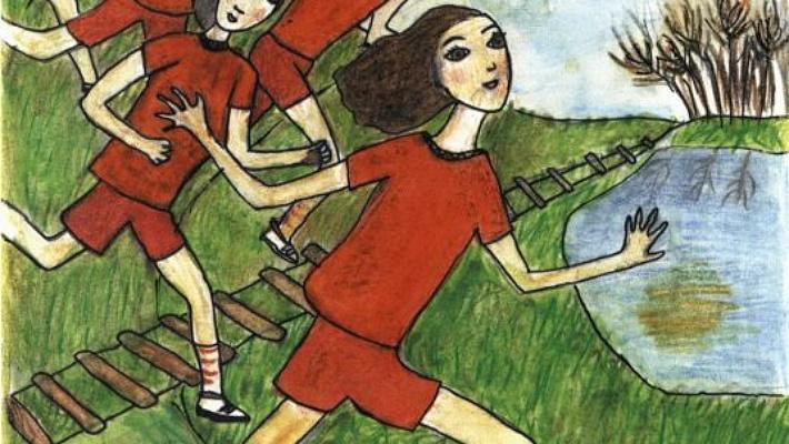 Flying girls running