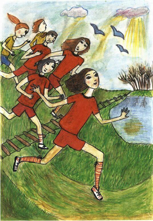 Flying girls running