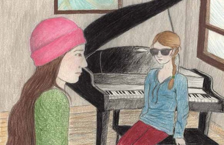 The Girl Next Door teaching piano