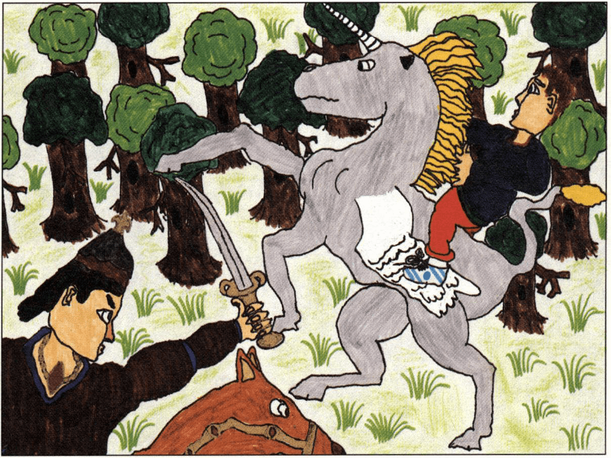 The Baron, the Unicorn, and the Boy riding a unicorn