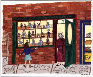 Doll Shop Magic looking at display window
