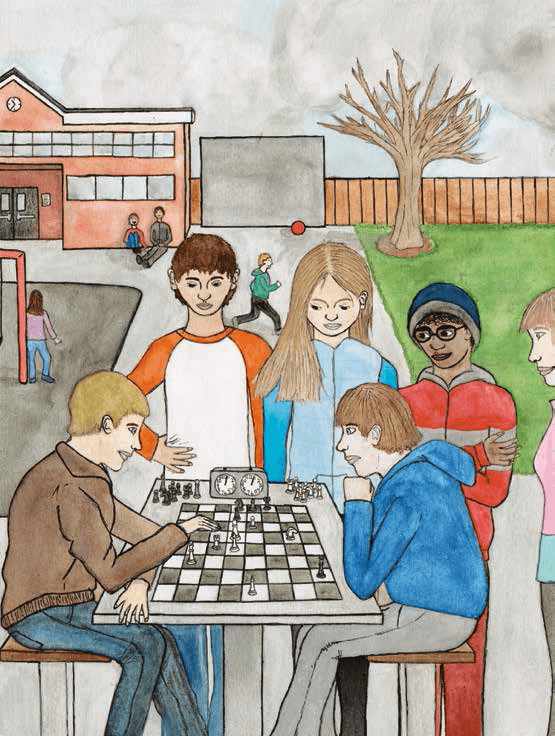 Black and White Children playing chess