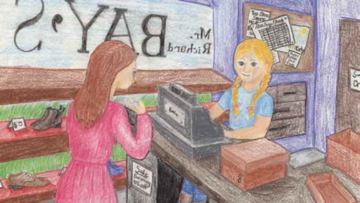 Katy Runs the Store Girl processing payment in a store