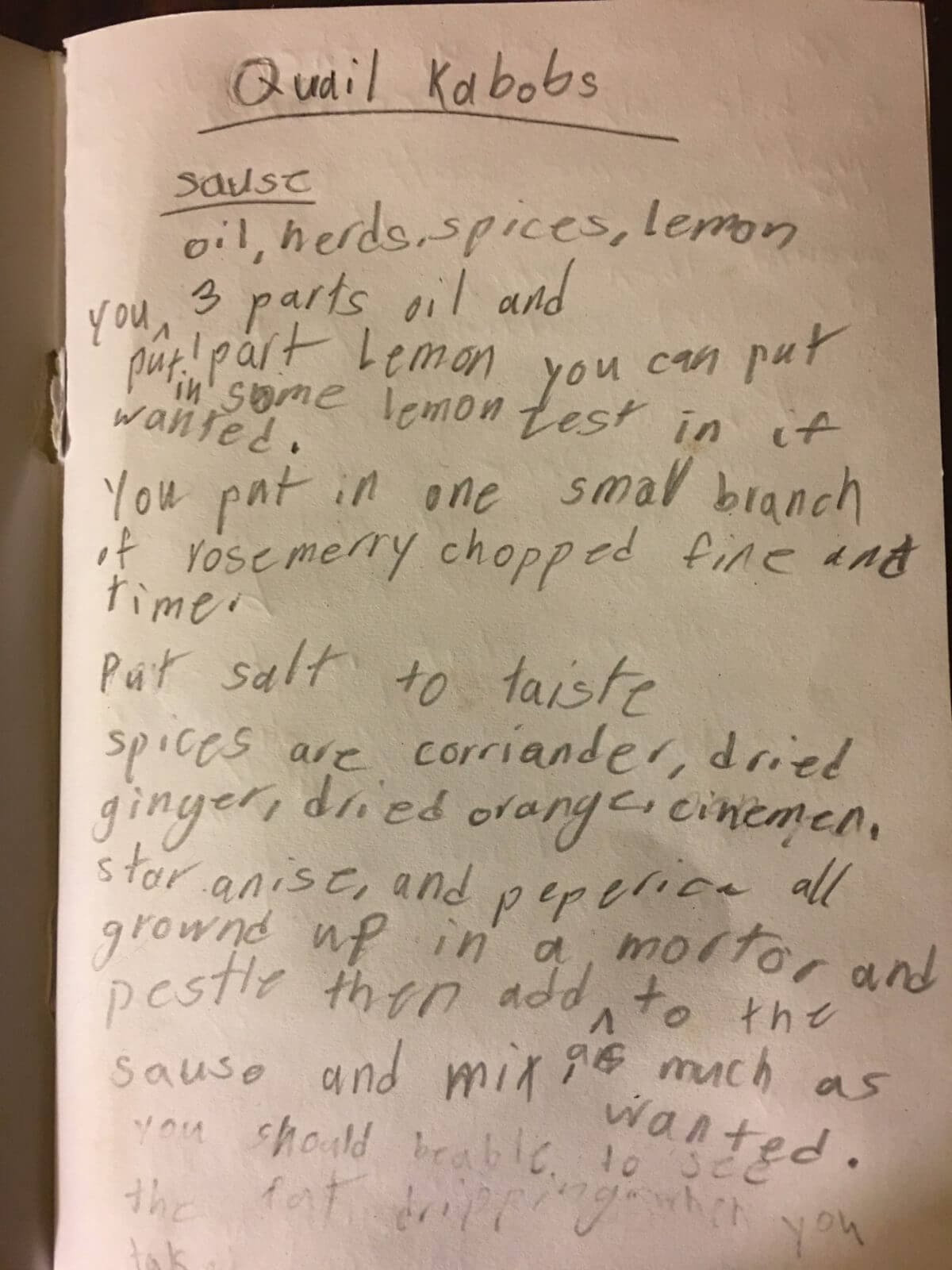 Qual Kabob ingredients. The recipe is by a nine-year-old.