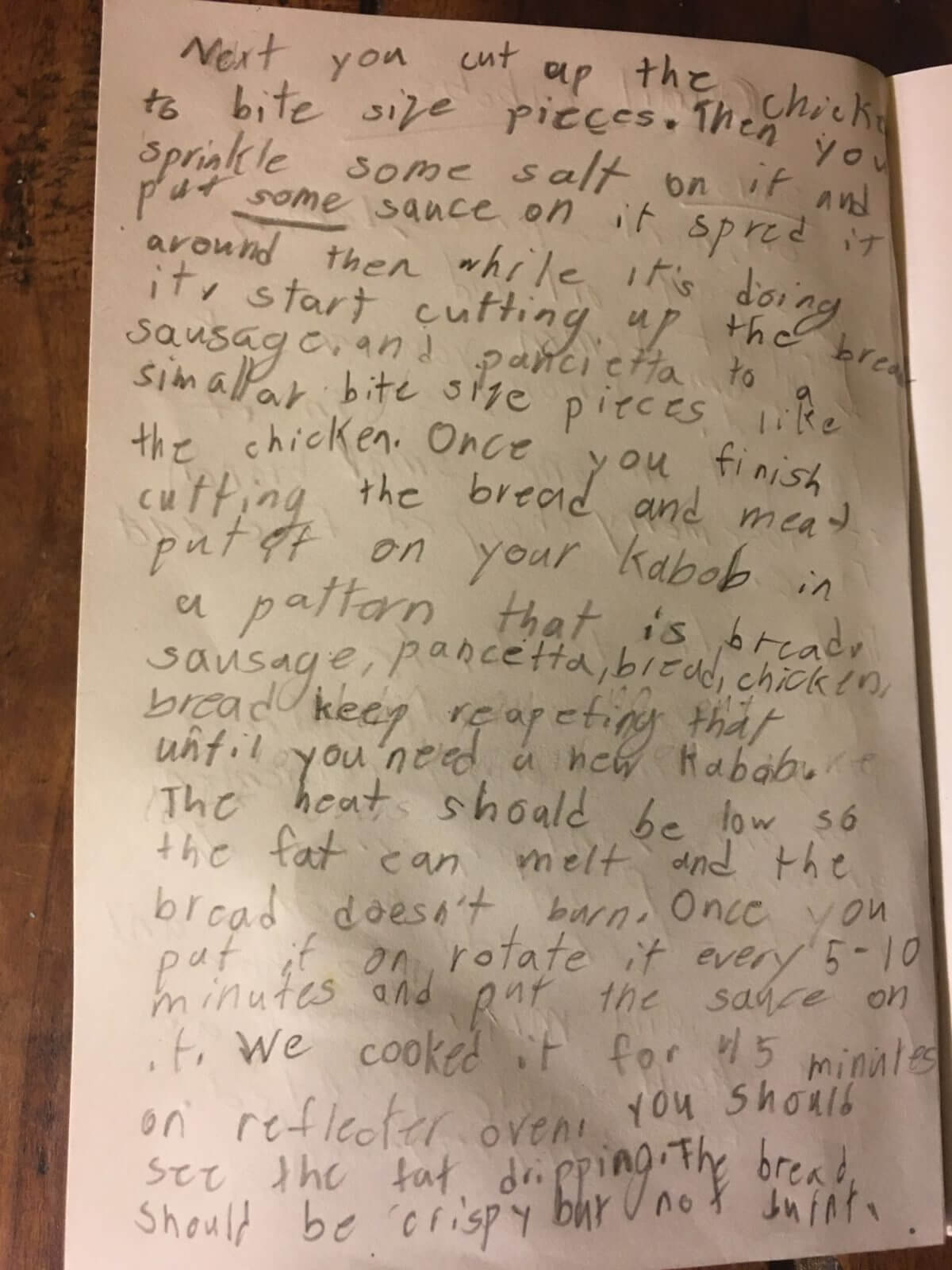 This is a set of instructions for making a quail kabob written by a nine=year-old.