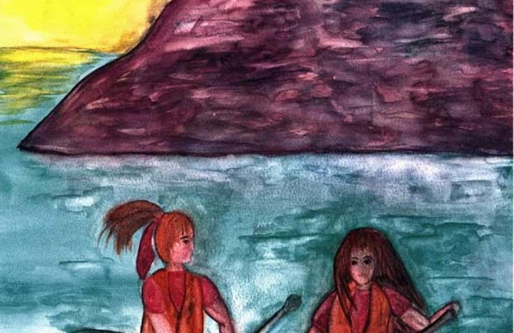 canoeing two girls canoeing