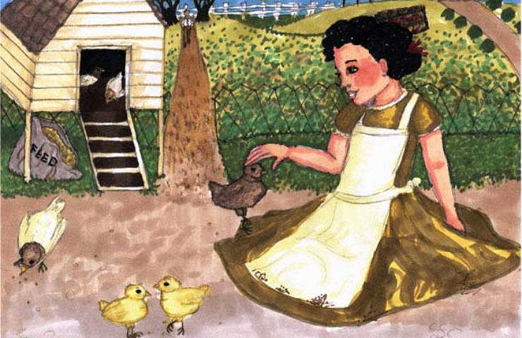 the chicken coop child playing with chicks