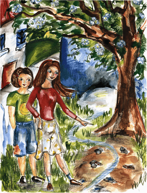 The Kingdom of Stones two girls by the stream