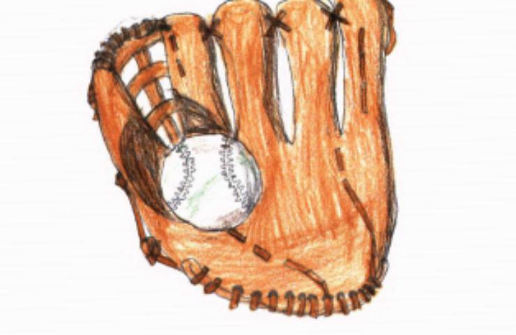Adrian softball and glove