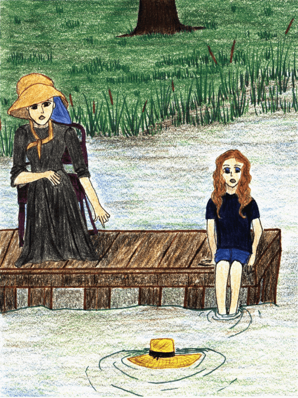 The Lone Straw Hat two women at the dock