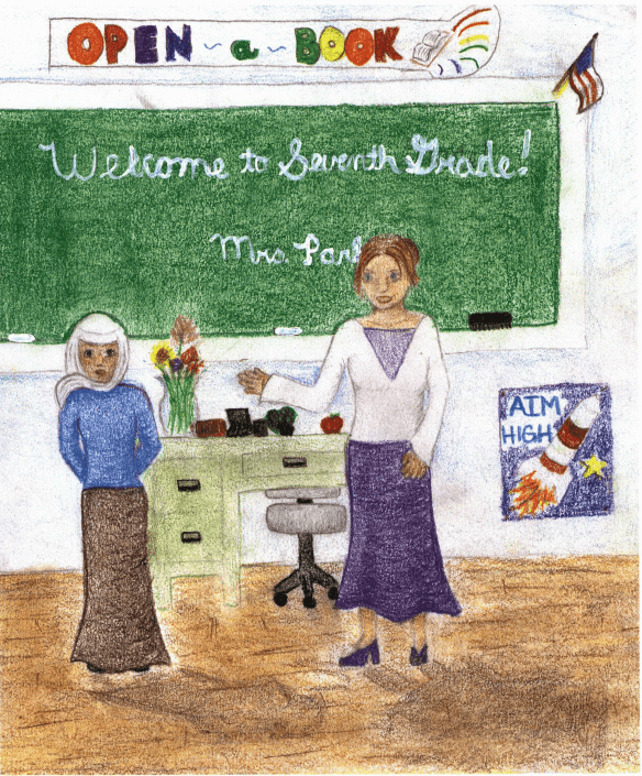 Muslim Girl standing in front of the class