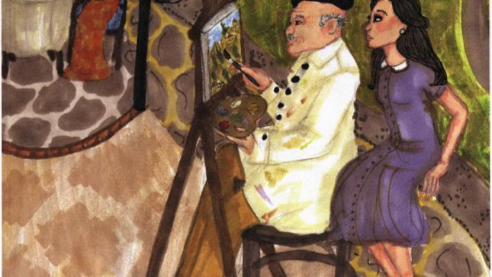 The View from Santa Chiara looking at a man painting