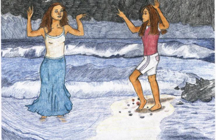 Storm Dancer girls on the beach