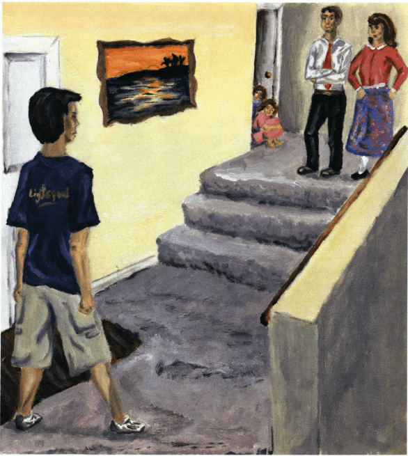 Stranded boy fighting with parents