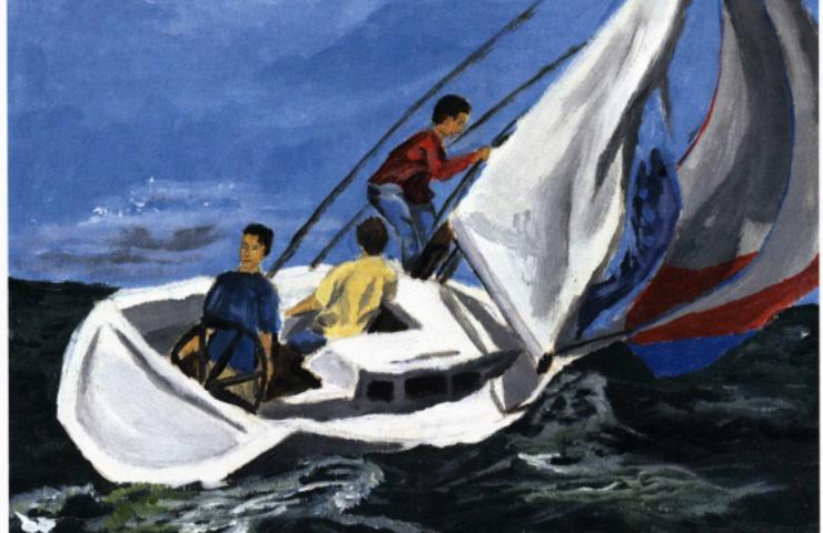 Stranded boys in a boat