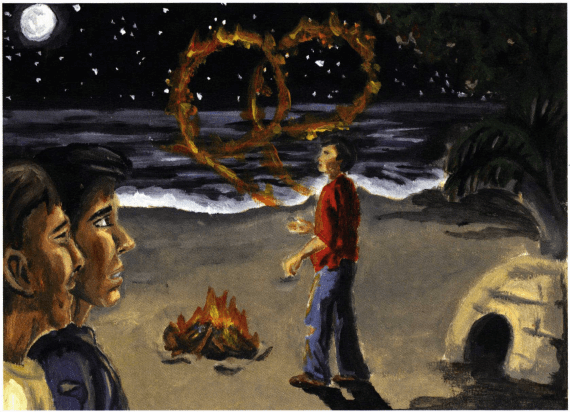 Stranded boys looking at fire