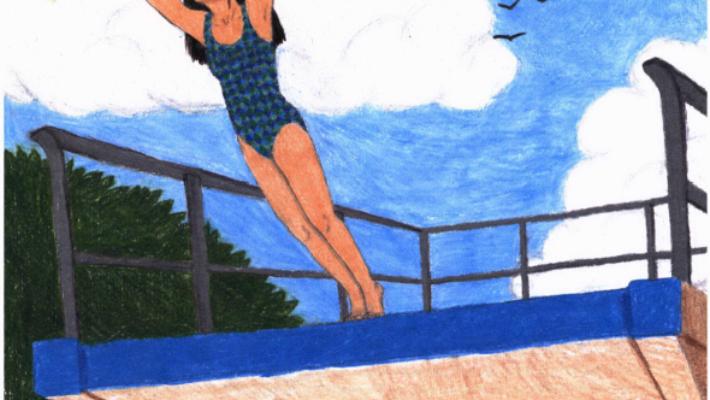 Diver girl diving