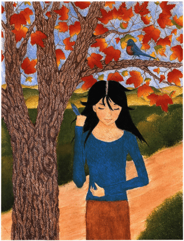 Forever Untitled girl near a tree