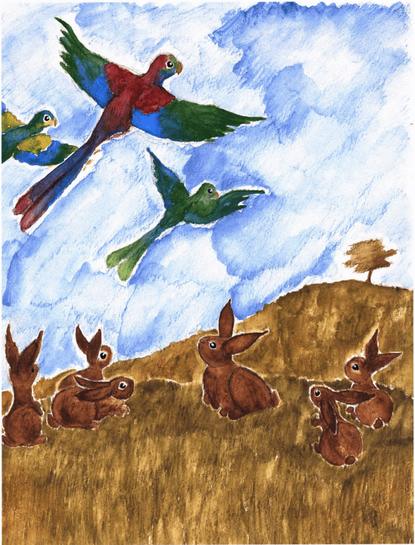 Fort Cuniculus rabbits looking at birds