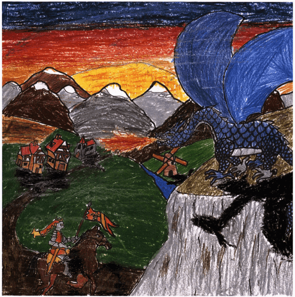 The Last Dragon knight fighting a dragon
