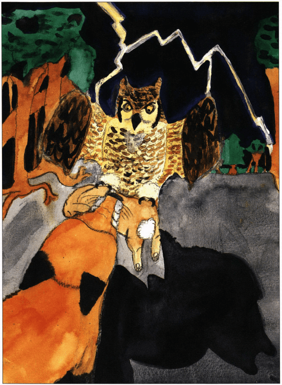 Autumn Thunder owl snatching the catch