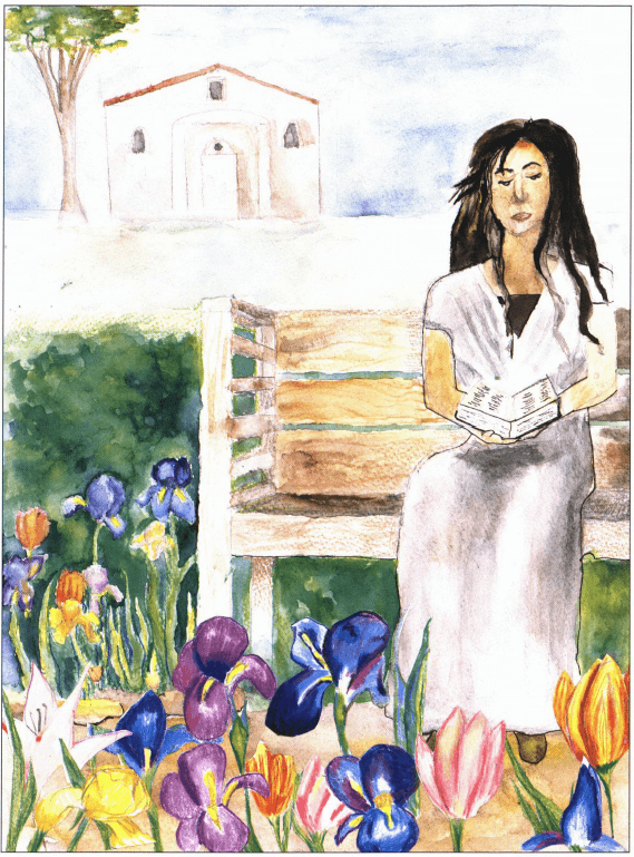 Another Day woman sitting in a garden