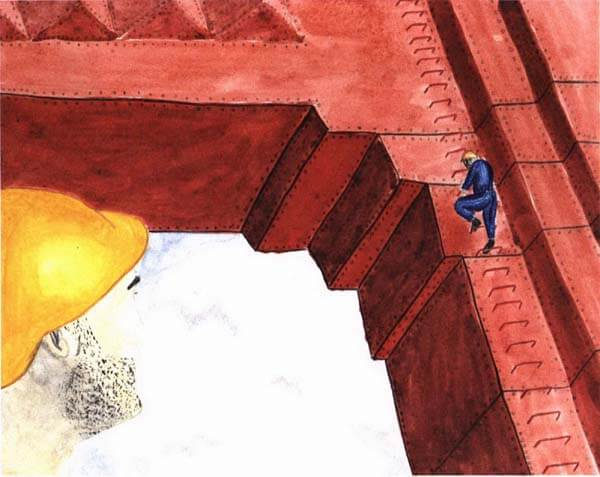 a gated memory hard hat guy climbing a bridge
