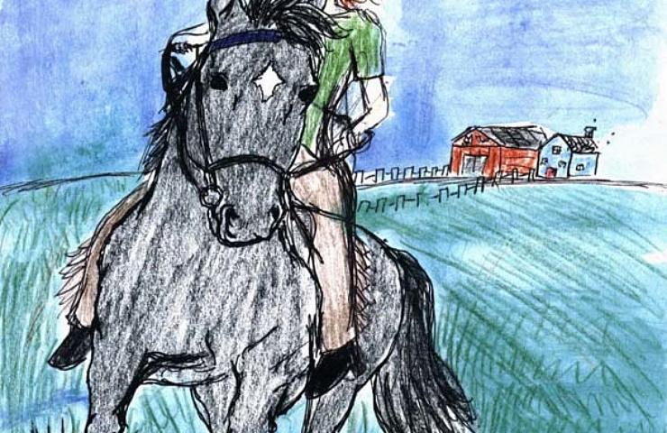 through dracos eyes girl riding a black horse