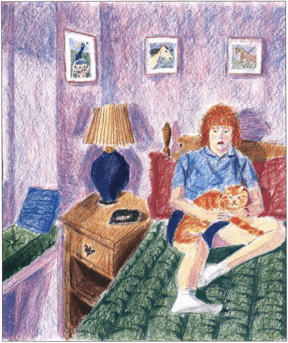 A Sour Note girl and cat on the bed
