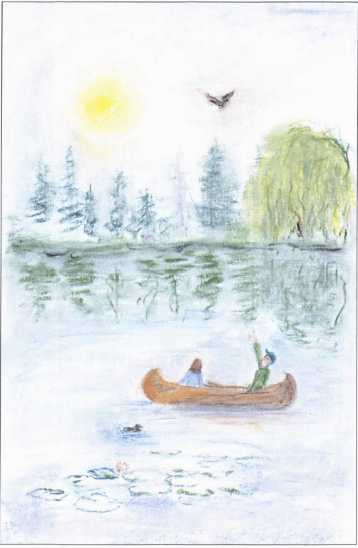 Canoeing father and son in a canoe
