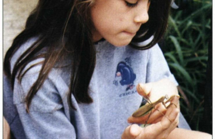 Forget Me Not girl holding praying mantis