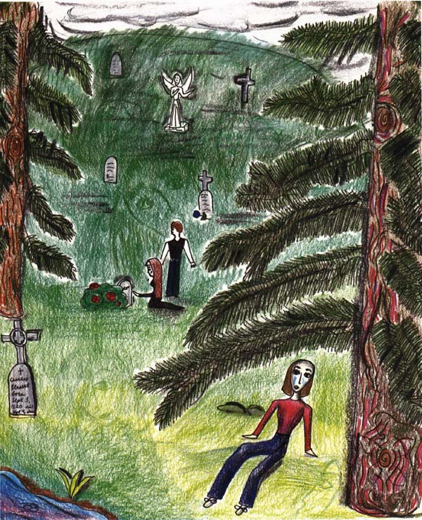 Stroke of the Bow girl sitting in graveyard