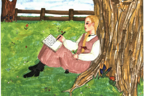 Bliss writing under the tree